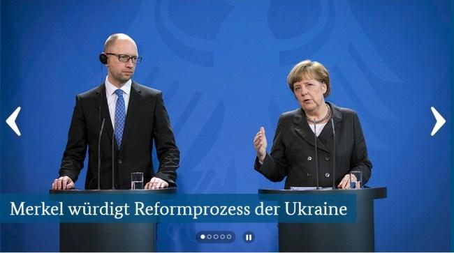 Jazenjuk und Merkel
